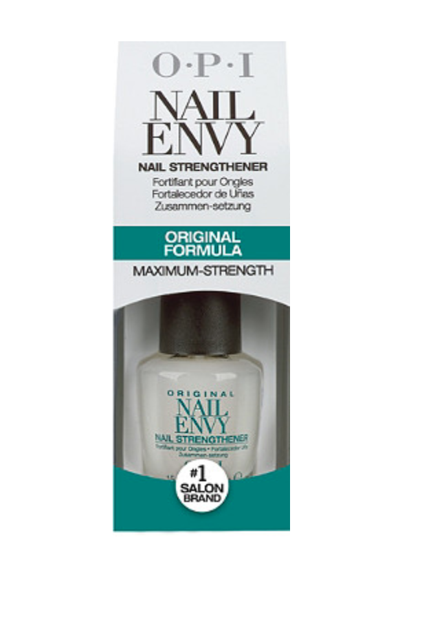 """<h2>OPI Nail Envy Nail Strengthener</h2>A best-seller for a reason, this nail treatment strengthens and hardens weak, damaged nails with hydrolyzed wheat protein and calcium. <br><br><strong>OPI</strong> Nail Envy Nail Strengthener Original Formula, $, available at <a href=""""https://go.skimresources.com/?id=30283X879131&url=https%3A%2F%2Fwww.ulta.com%2Fnail-envy-nail-strengthener-original-formula%3FproductId%3DxlsImpprod5180283"""" rel=""""nofollow noopener"""" target=""""_blank"""" data-ylk=""""slk:Ulta Beauty"""" class=""""link rapid-noclick-resp"""">Ulta Beauty</a>"""