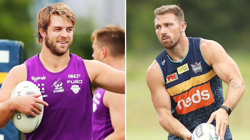 Pictured here, Melbourne Storm's Christian Welch and NRL anti-vaxxer Bryce Cartwright.