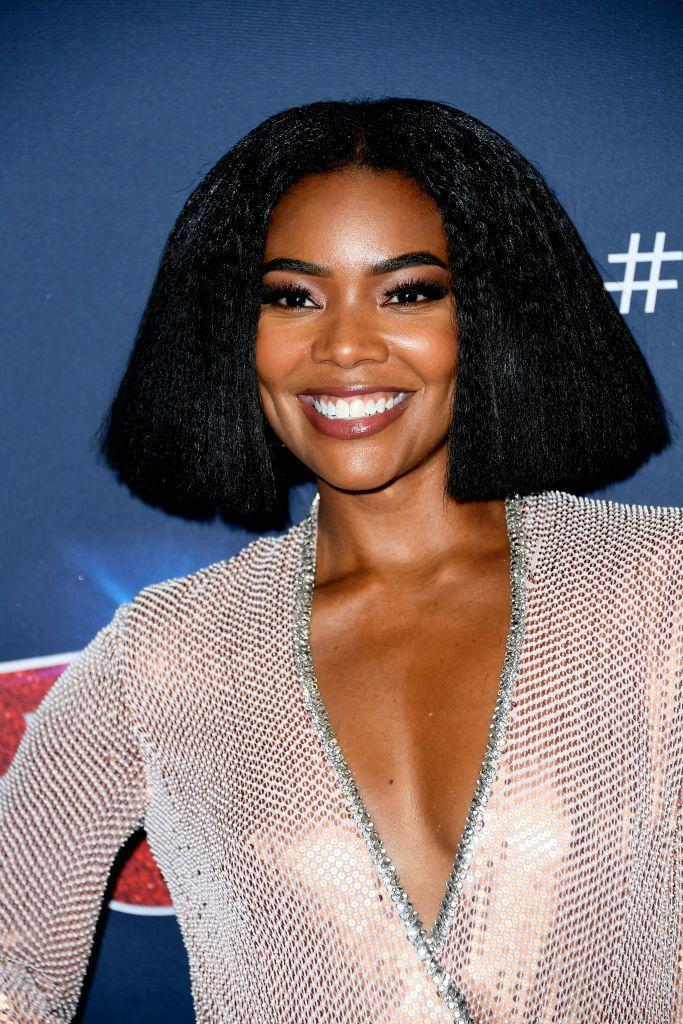 <p>What could be overwhelming on longer faces is just right for Gabrielle Union. Here, the heft of a lofty geometric bob is balanced and flattering. </p>