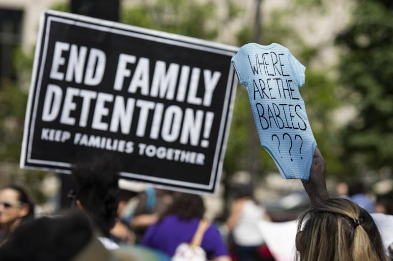 Protesters rally against US President Donald Trump's immigrant family separation policies in Philadelphia, Pennsylvania, June 30, 2018. - Thousands of demonstrators, baking in the heat and boiling mad against US immigration policy, marched across the country Saturday. June 30, 2018, to protest the separation of families under President Donald Trump's hardline policy. (Photo by DOMINICK REUTER / AFP) (Photo credit should read DOMINICK REUTER/AFP/Getty Images)