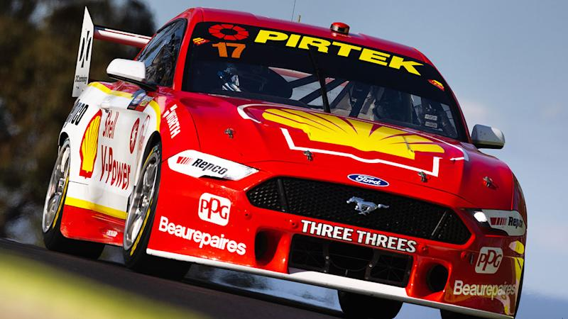 Scott McLaughlin is seen here driving his Ford Mustang during Bathurst 1000 practice.