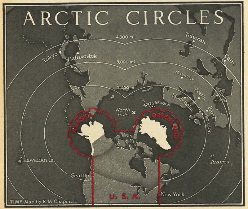 A map from the Jan. 27, 1947 issue of TIME, illustrating the strategic advantage to the U.S. of acquiring Greenland | R.M.Chapin, Jr./TIME