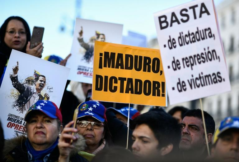 Venezuelan citizens living in Madrid called a protest rally against President Nicolas Maduro