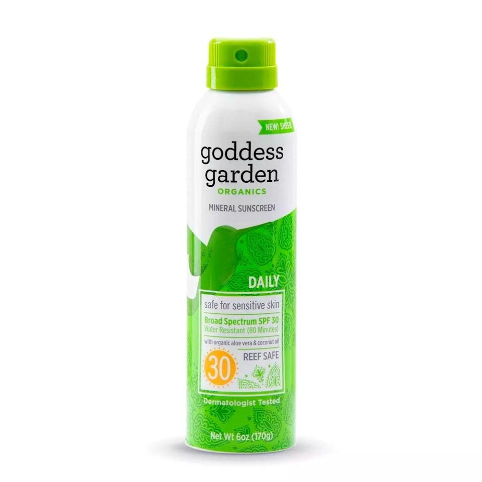 """In the market for a sheer mineral sunscreen mist? Look no further. Garden Goddess Daily Mineral Sunscreen contains zinc and titanium as the active mineral filters as well as coconut oil, glycerin, and shea butter. Markowitz loves this reef-safe formula because it's as moisturizing and soothing as it is protective. $11, Target. <a href=""""https://shop-links.co/1740456718015653293"""" rel=""""nofollow noopener"""" target=""""_blank"""" data-ylk=""""slk:Get it now!"""" class=""""link rapid-noclick-resp"""">Get it now!</a>"""