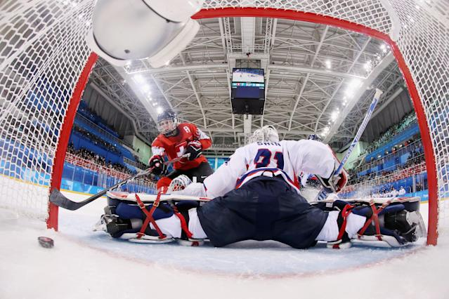 <p>Lara Stalder #7 of Switzerland scores a goal against So Jung Shin #31 of Korea in the third period during the Women's Ice Hockey Preliminary Round – Group B game on day one of the PyeongChang 2018 Winter Olympic Games at Kwandong Hockey Centre on February 10, 2018 in Gangneung, South Korea. (Photo by Bruce Bennett/Getty Images) </p>