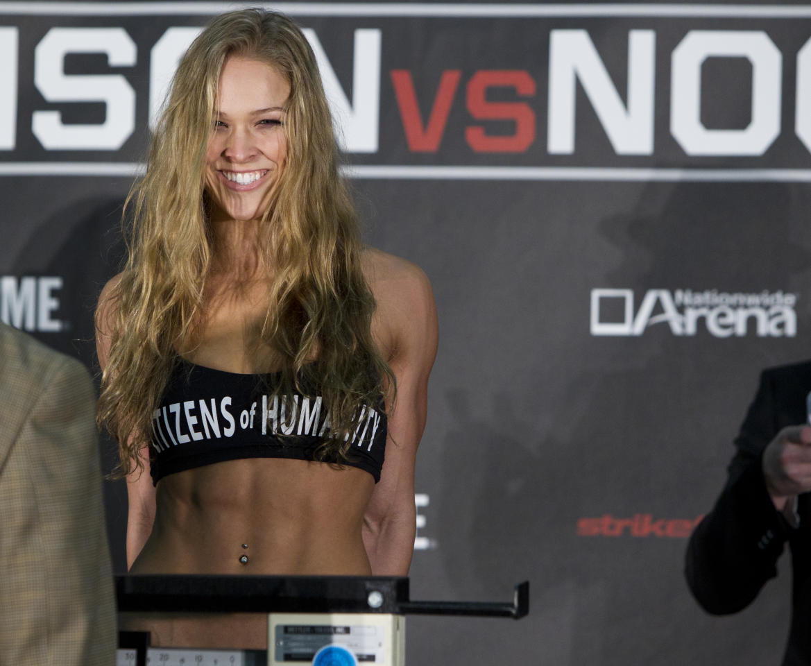 COLUMBUS, OH - MARCH 02:  Ronda Rousey weighs in during the Strikeforce Tate v Rousey official weigh in at Columbus Convention Center on March 2, 2012 in Columbus, Ohio.  (Photo by Esther Lin/Forza LLC/Forza LLC via Getty Images)