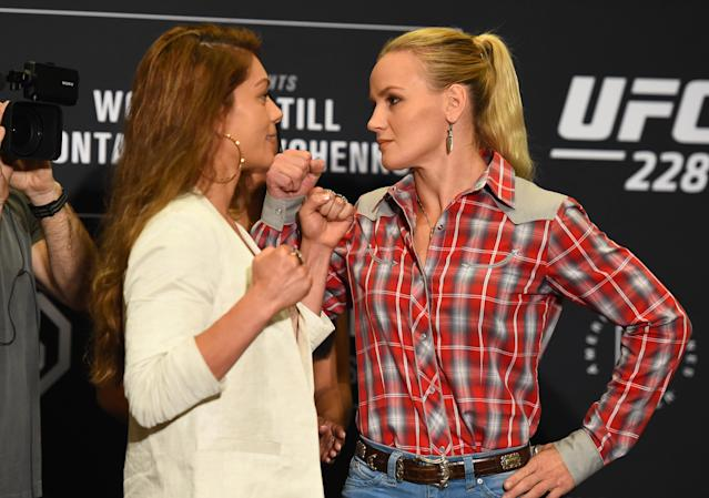 Nicco Montaño (L) and Valentina Shevchenko face off during the UFC 228 ultimate media day on Sept. 6, 2018 in Dallas, Texas. (Getty Images)