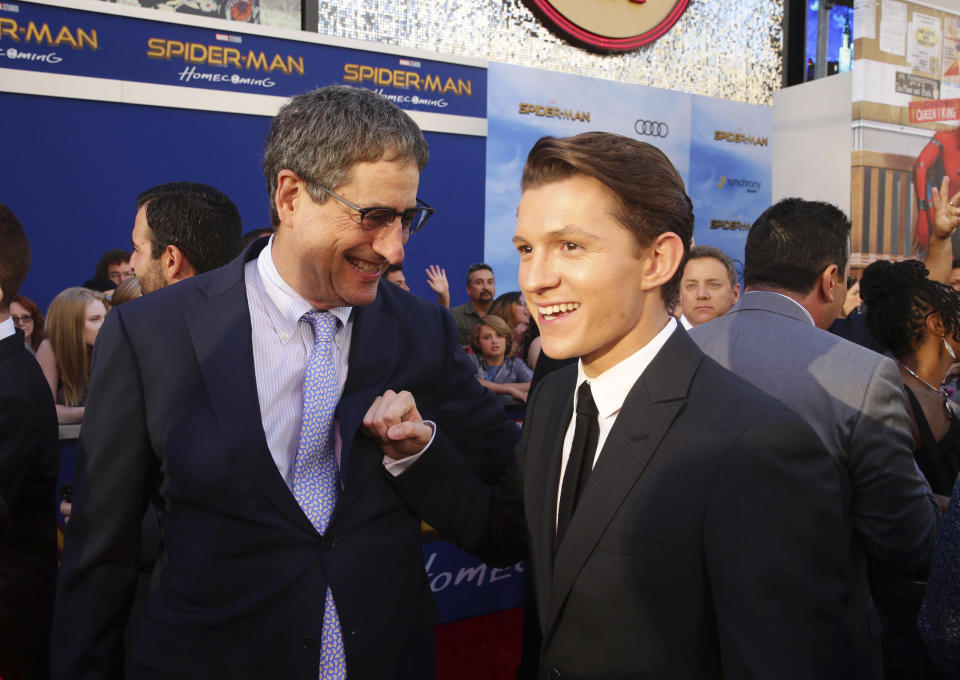"""Tom Rothman, Chairman, Sony Pictures Motion Picture Group, left, and Tom Holland seen at Columbia Pictures World Premiere of """"Spider-Man: Homecoming"""" at TCL Chinese Theatre on Wednesday, June 28, 2017, in Hollywood, CA. (Photo by Steve Cohn/Invision for Sony Pictures/AP Images)"""