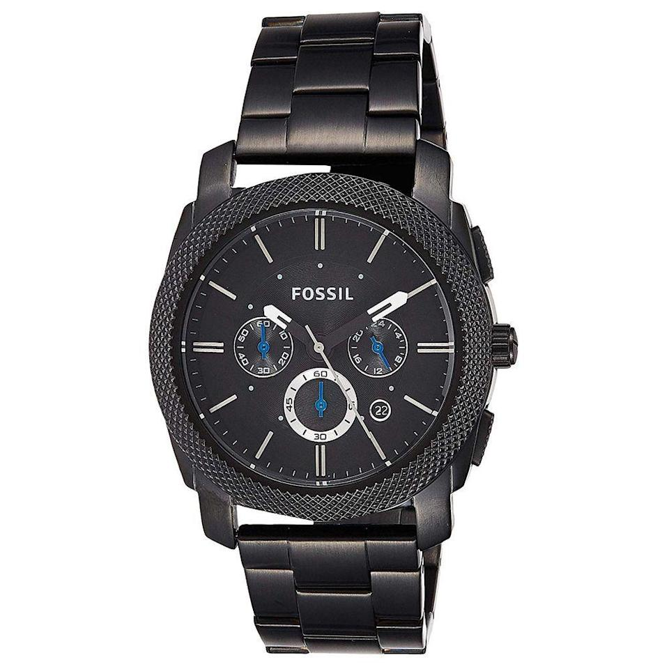 "<p><strong>Fossil</strong></p><p>amazon.com</p><p><strong>$108.12</strong></p><p><a href=""https://www.amazon.com/dp/B08261G2YF?tag=syn-yahoo-20&ascsubtag=%5Bartid%7C10055.g.4517%5Bsrc%7Cyahoo-us"" rel=""nofollow noopener"" target=""_blank"" data-ylk=""slk:Shop Now"" class=""link rapid-noclick-resp"">Shop Now</a></p><p>Proof that it's possible to get a quality timepiece at an affordable price point. And while the black stainless steel look is chic for everyday wear, he can swap it out with Fossil's wide assortment of leather, metal, and cloth watch bands. </p>"