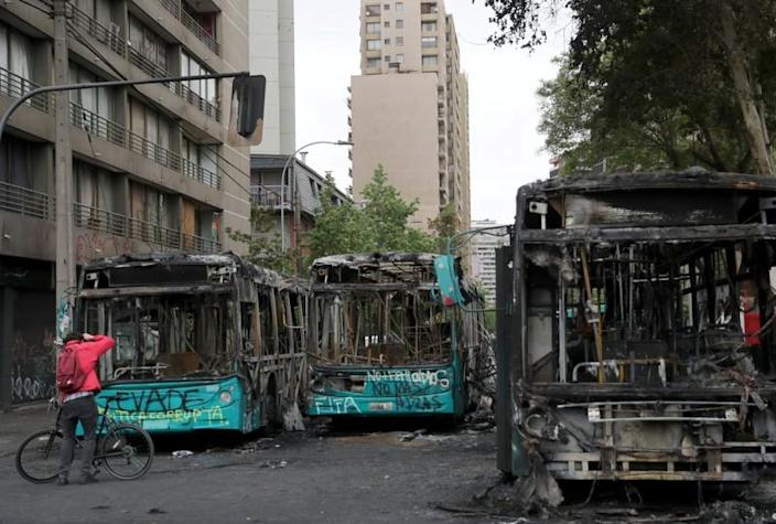 Aftermath of a protest against the increase in subway ticket prices in Santiago