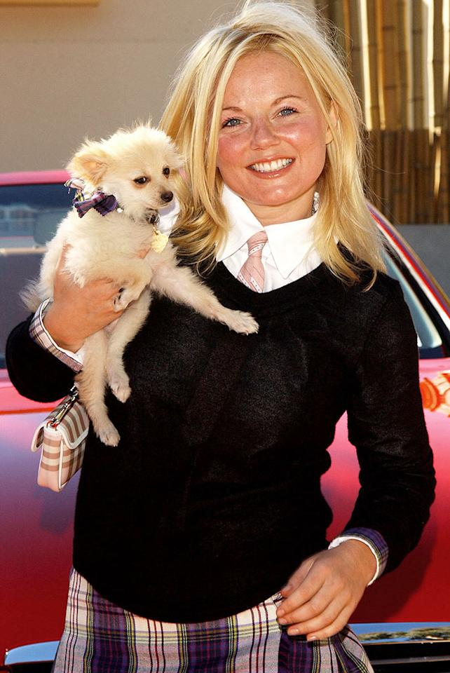 """Geri Halliwell and her dog Daddy. Amy Graves/<a href=""""http://www.wireimage.com"""" target=""""new"""">WireImage.com</a> - November 22, 2003"""