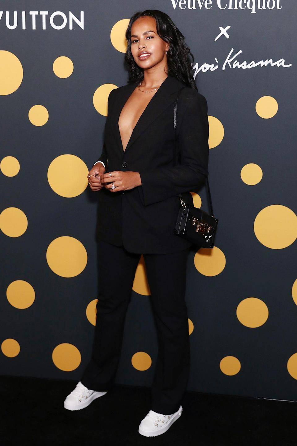<p>Sabrina Elba arrives at a cocktail event to celebrate Veuve Clicquot's partnership with artist Yayoi Kusama and new vintage 'La Grande Dame 2012' at<br> Louis Vuitton in Sydney on Wednesday.</p>