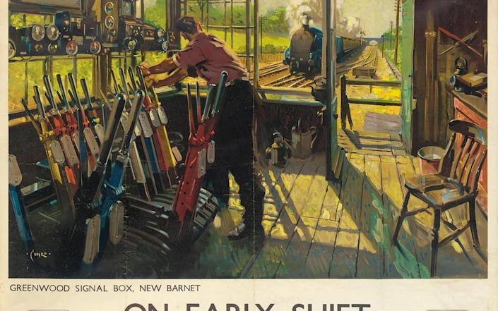 'On Early Shift', a Fifties poster for British Railways by the realist painter Terence Cuneo - Christies/Bridgeman Images