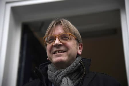 The European Union's chief Brexit negotiator Verhofstadt leaves Chatham House in London, Britain