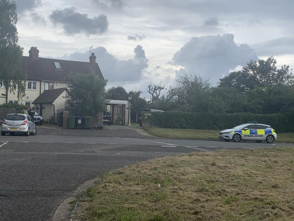 Police at the scene in Stoke Poges on Monday night. (Yahoo News UK)