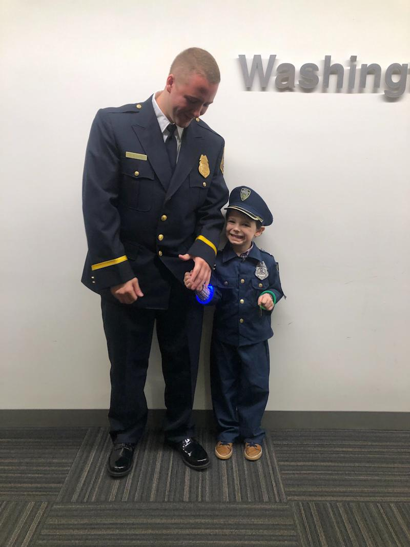 A mom is thanking a police officer for going above and beyond to help her 4-year-old autistic son (Photo provided by Taylor Pomilla)