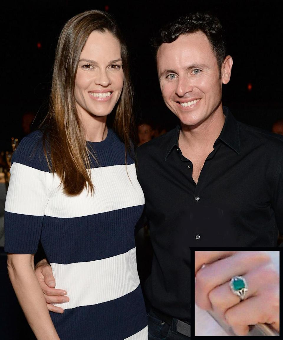 <p>Swank shared her news of the engagement to former pro tennis player Ruben Torres on March 22, 2016. Torres popped the question with what appeared to be an emerald and diamond ring in a gorgeous gold setting. Swank and Torres called off their engagement in early June. </p>