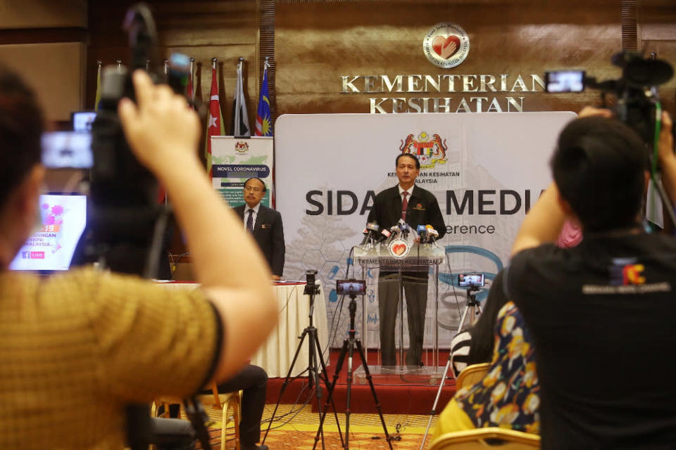 Health director-general Datuk Dr Noor Hisham Abdullah said two of the six cases were local transmissions and the other four were Malaysians returning from abroad. — Picture by Choo Choy May