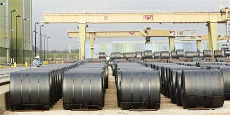 Steel coils at the ThyssenKrupp Steel USA factory are pictured in Calvert
