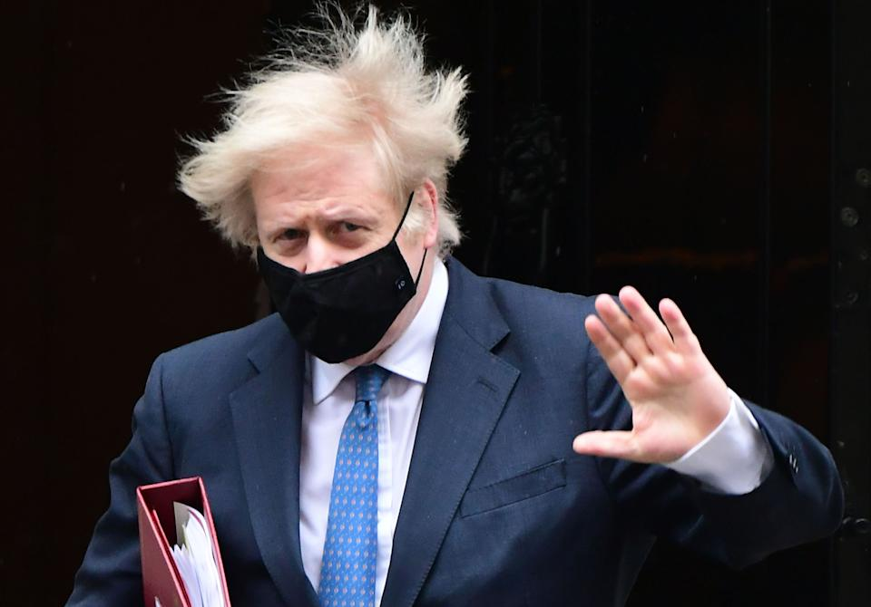 Prime Minister Boris Johnson leaves 10 Downing Street to attend Prime Minister's Questions at the Houses of Parliament, London. Picture date: Wednesday March 10, 2020. (Photo by Ian West/PA Images via Getty Images)