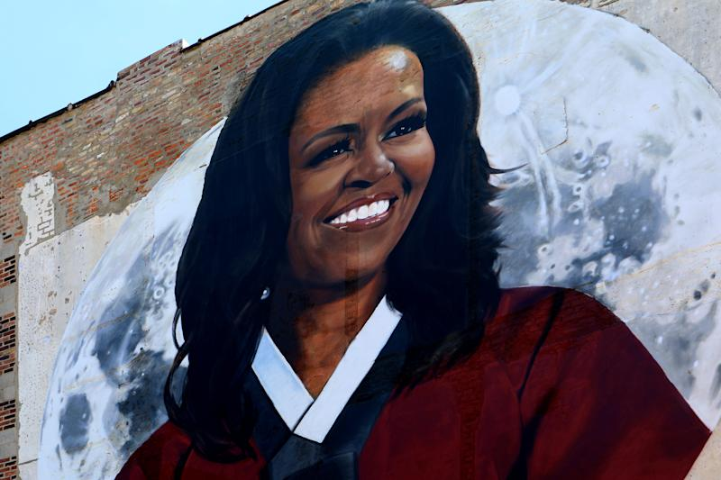 CHICAGO - AUGUST 24: Royyal Dog's 'Michelle Obama' mural is displayed on the side of PERILLA, Korean American Fare restaurant in the River North neighborhood in Chicago, Illinois on August 24, 2019. MANDATORY MENTION OF THE ARTIST UPON PUBLICATION - RESTRICTED TO EDITORIAL USE. (Photo By Raymond Boyd/Getty Images)