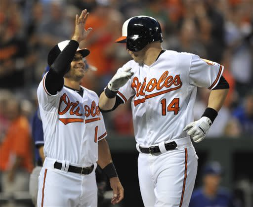 Baltimore Orioles' Brian Roberts, left, congratulates teammate Nolan Reimold for hitting a three-run home run against the Texas Rangers in the fourth inning of a baseball game on Wednesday, July 10, 2013, in Baltimore. (AP Photo/Gail Burton)