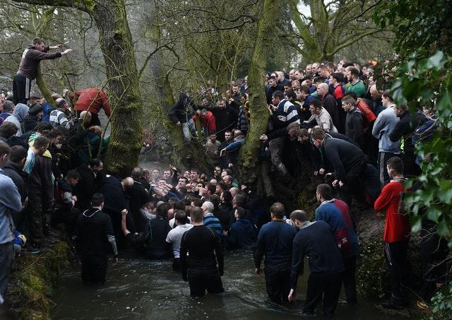 Players during a previous Royal Shrovetide football match in Ashbourne