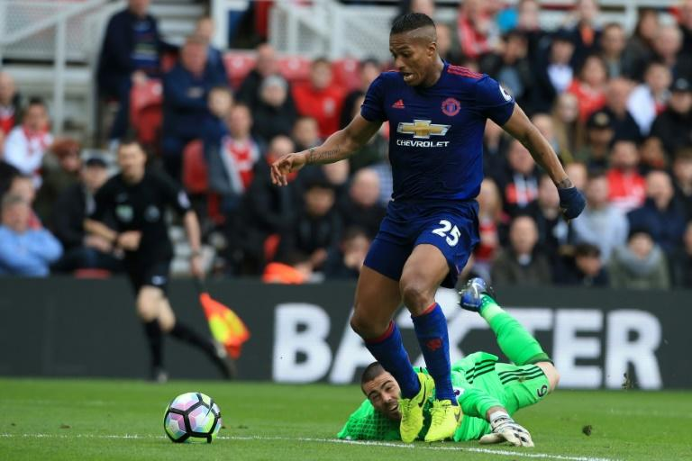 Manchester United midfielder Antonio Valencia walks in their third goal during a English Premier League match against Middlesbrough at Riverside Stadium in Middlesbrough on March 19, 2017