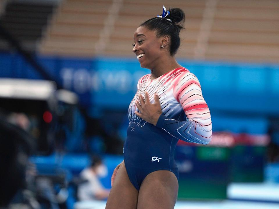Simone Biles after her Olympic balance-beam routine in Tokyo.