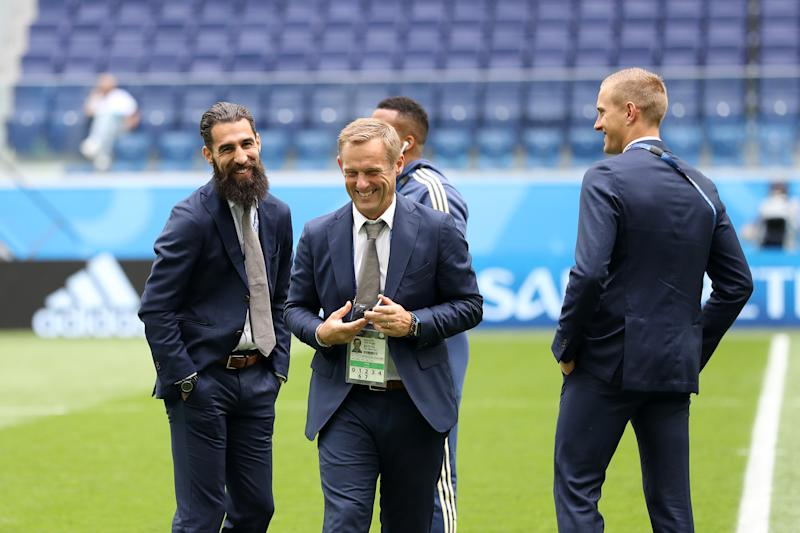 Paul Balsom (center) is the head of performance innovation for Leicester City. (Photo by Patrick Smith - FIFA/FIFA via Getty Images)