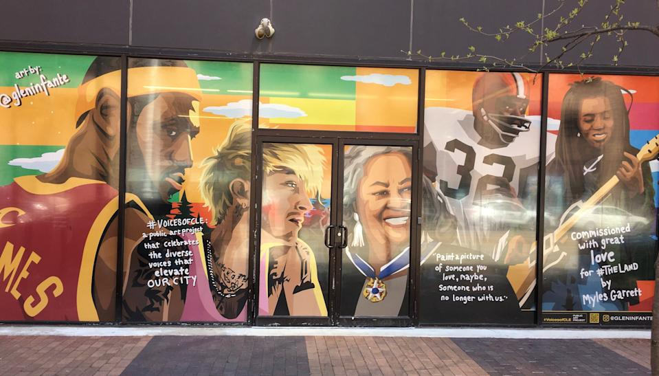 "The ""Cleveland is the Reason"" mural by artist Glen Infante features LeBron James, Machine Gun Kelly, Toni Morrison, Jim Brown and Tracy Chapman. The artwork in downtown Cleveland was commissioned by Browns defensive end Myles Garrett."