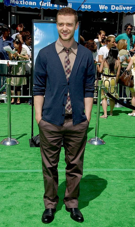 """Justin Timberlake looks cute as a button in his plaid tie and cardigan. Gregg DeGuire/<a href=""""http://www.wireimage.com"""" target=""""new"""">WireImage.com</a> - May 6, 2007"""