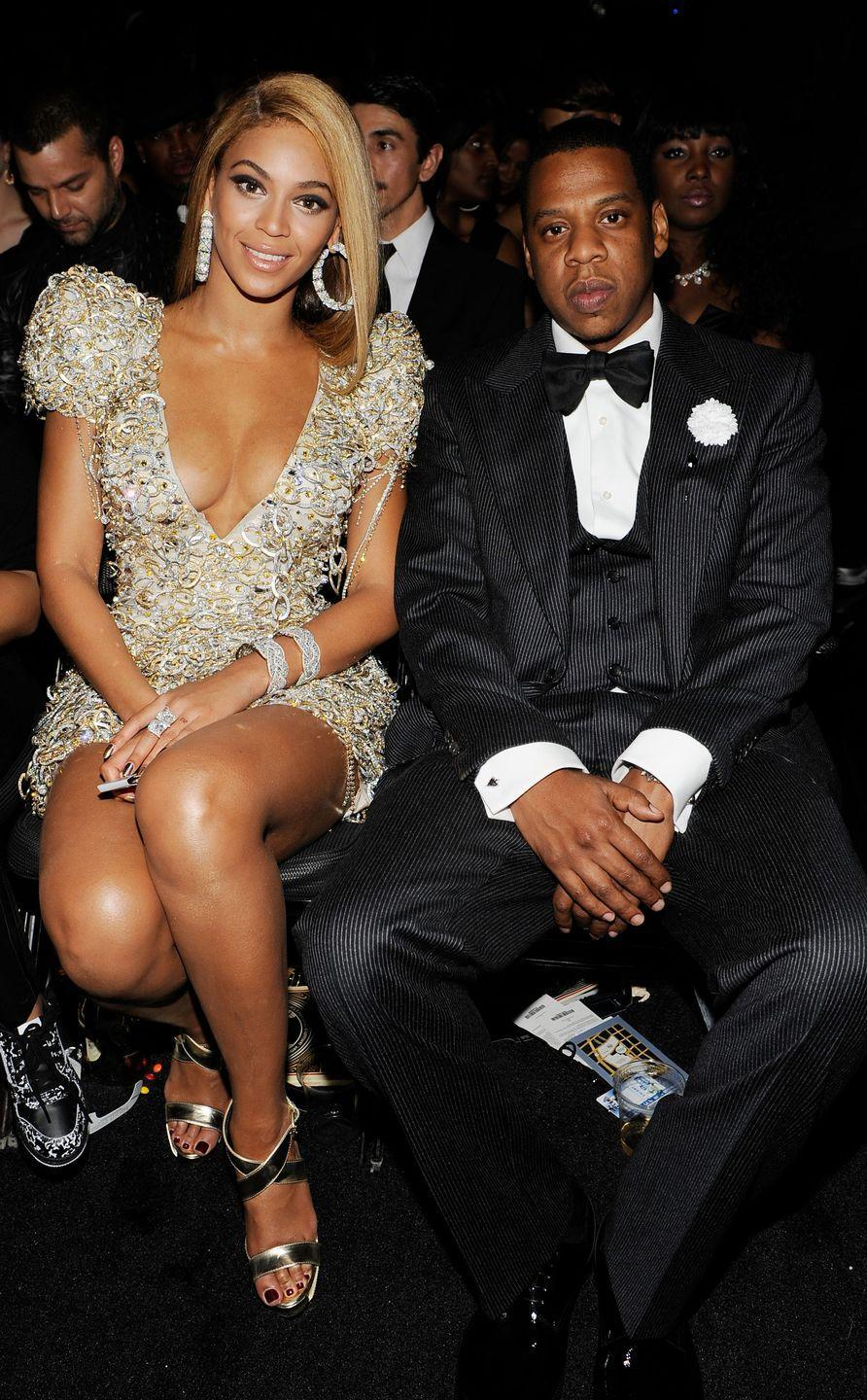 """<p>The power couple - who are <a href=""""https://www.forbes.com/sites/zackomalleygreenburg/2019/06/04/jay-z-and-beyonc-now-have-a-combined-14-billion-net-worth/"""" rel=""""nofollow noopener"""" target=""""_blank"""" data-ylk=""""slk:estimated to be worth $1.4 billion"""" class=""""link rapid-noclick-resp"""">estimated to be worth $1.4 billion </a>- started dating in 2002 and married in a secret ceremony in 2008 choosing not to confirm their relationship or marriage for years. The couple have three children together, Blue Ivy and <a href=""""https://www.elle.com/uk/life-and-culture/culture/a22556538/beyonce-pictures-twins-rumi-sir-carter/"""" rel=""""nofollow noopener"""" target=""""_blank"""" data-ylk=""""slk:twins Sir and Rumi."""" class=""""link rapid-noclick-resp"""">twins Sir and Rumi.</a></p>"""