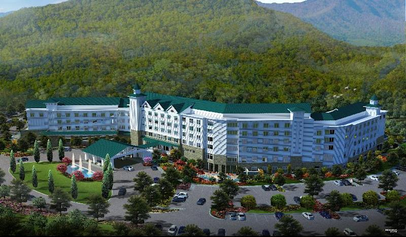 This artist rendering released by Dollywood shows a version of a proposed hotel in the Smoky Mountains in Pigeon Forge, Tenn. The park plans to open DreamMore Resort in 2015. It's part of a planned $300 million expansion to take place over the next decade. (AP Photo/Dollywood)