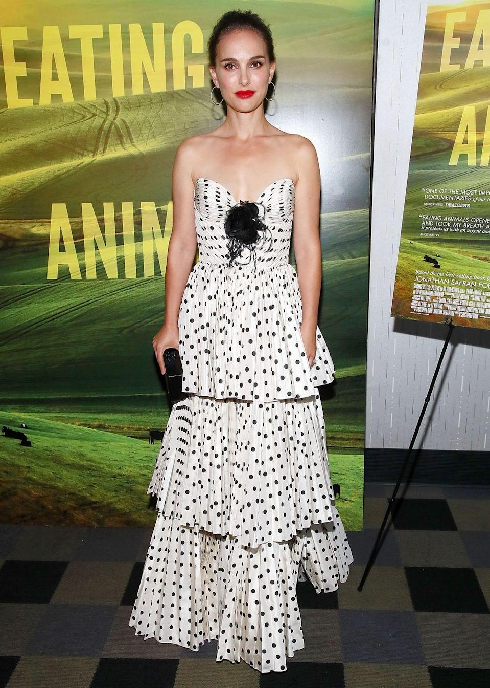 <p>The actress wore Miu Miu to the New York screening of <em>Eating Animals</em>.</p>