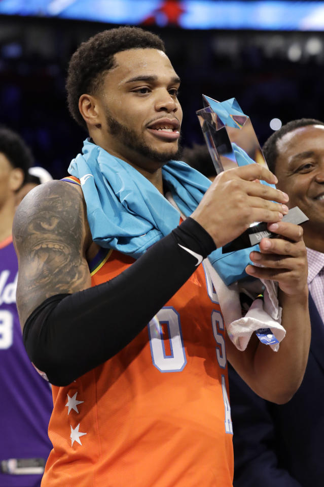 U.S. forward Miles Bridges, of the Charlotte Hornets, holds the MVP trophy after the NBA Rising Stars basketball game in Chicago, Friday, Feb. 14, 2020. (AP Photo/Nam Y. Huh)