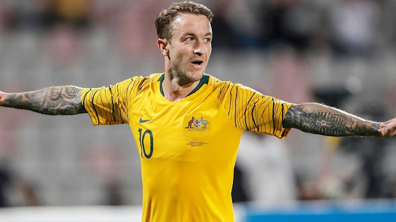 Seen here, Adam Taggart celebrates his winning goal for the Socceroos against Jordan.