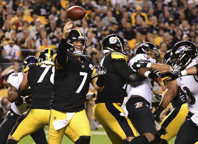 Ben Roethlisberger and the Steelers fell to 1-2-1 with a tough loss to their rivals, the Ravens. (AP)