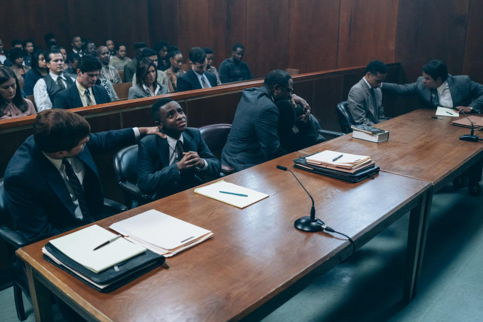 """This image released by Netflix shows a scene from """"When They See Us."""" The four-part Netflix series was nominated for a GLAAD Media Award for outstanding limited series. (Atsushi Nishijima/Netflix via AP)"""