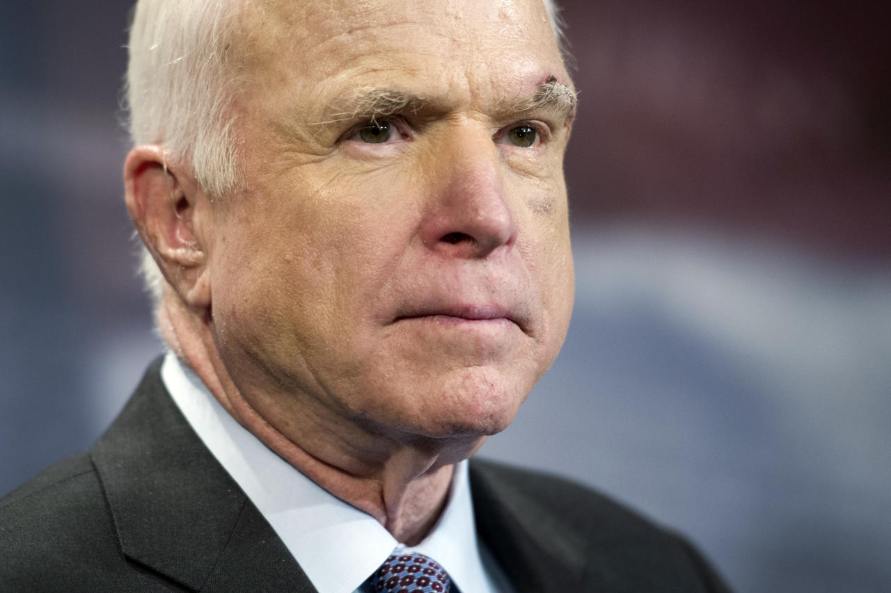 <p> FILE - In this July 27, 2017, file photo, Sen. John McCain, R-Ariz., speaks to reporters on Capitol Hill in Washington. McCain says he won't vote for the Republican bill repealing the Obama health care law. His statement likely deals a fatal blow to the last-gasp GOP measure in a Senate showdown expected next week. (AP Photo/Cliff Owen, file) </p>