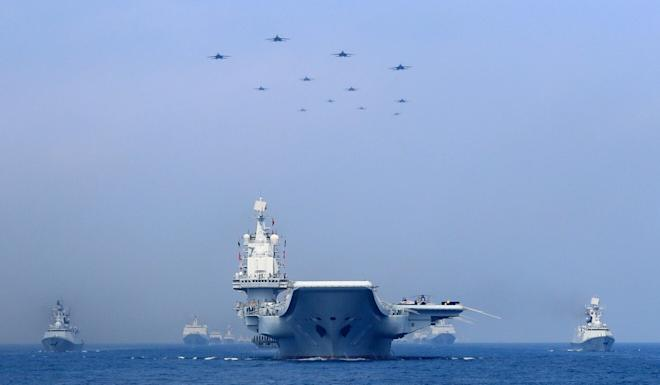 The PLA's Liaoning aircraft carrier strike group was seen twice last month in the vicinity of Taiwan. Photo: Reuters