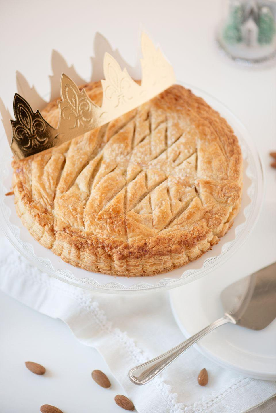 "<p>One of France's new year traditions actually takes place a few days after Jan. 1. According to France 24, a Paris-based news network, the <em>galette des rois</em>, or <a href=""https://www.france24.com/en/20200106-galette-des-rois-france-begins-the-new-year-with-a-cake-for-kings"" rel=""nofollow noopener"" target=""_blank"" data-ylk=""slk:kings cake, is traditionally eaten on the first Sunday"" class=""link rapid-noclick-resp"">kings cake, is traditionally eaten on the first Sunday</a> of the year to celebrate the Epiphany in Christianity. The cake is often made with puff pastry and frangipane, an almond-flavored cream or paste but they can be filled with plenty of other sweets instead. Regardless of its filling, the <em>galette des rois </em>always hides the coveted, fève, or bean, a ceramic trinket or charm, and the person who finds it is graced with good luck. </p><p><a class=""link rapid-noclick-resp"" href=""https://www.amazon.com/Vahine-French-Frangipane-200-grams/dp/B00DUJ06D4/?tag=syn-yahoo-20&ascsubtag=%5Bartid%7C10063.g.34903192%5Bsrc%7Cyahoo-us"" rel=""nofollow noopener"" target=""_blank"" data-ylk=""slk:BUY FRANGIPANE"">BUY FRANGIPANE</a></p>"