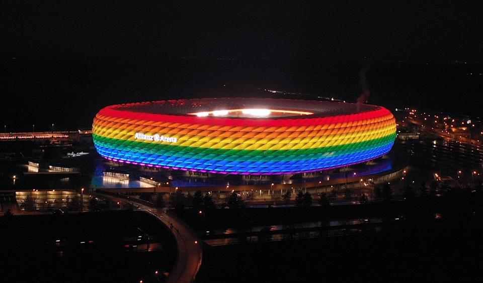 Munich cannot light up its stadium with rainbow colors when Hungary comes to town in Euro 2020 on Wednesday. (Photo by Alexandra Beier/Getty Images)