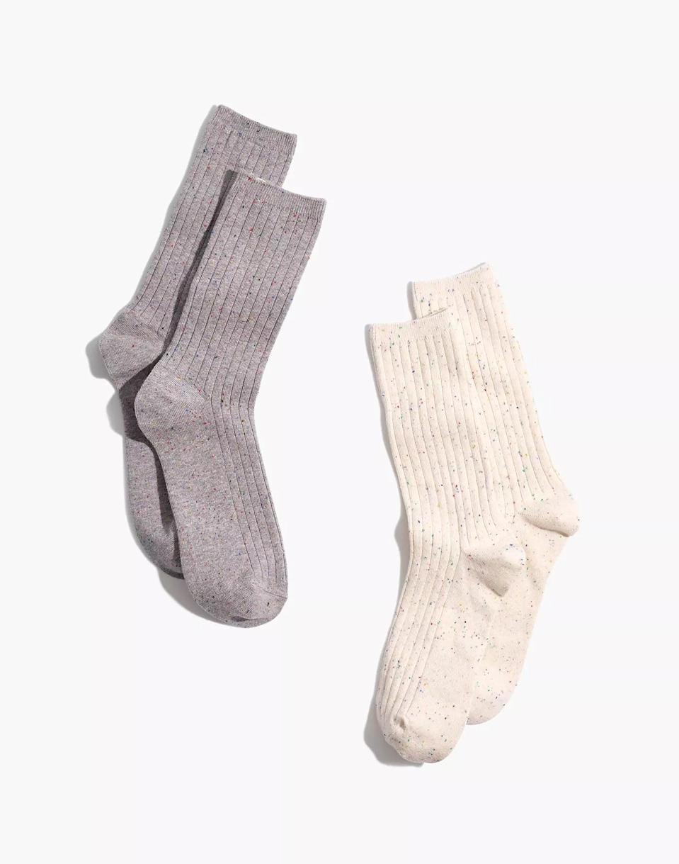 """<p>""""Socks may not be the most exciting purchase, but you can't argue that they aren't useful, especially in the dead of winter. This <span>Madewell Ribbed Pair</span> ($20) comes in a handy two-pack, in case you lose one in the laundry. Trust me, your warm toes will thank you."""" - CS</p>"""