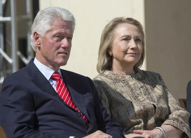 Former President Bill Clinton and Hillary Clinton at the dedication of the George W. Bush Presidential Library on the campus of Southern Methodist University in Dallas. (Photo: Brooks Kraft LLC/Corbis via Getty Images)