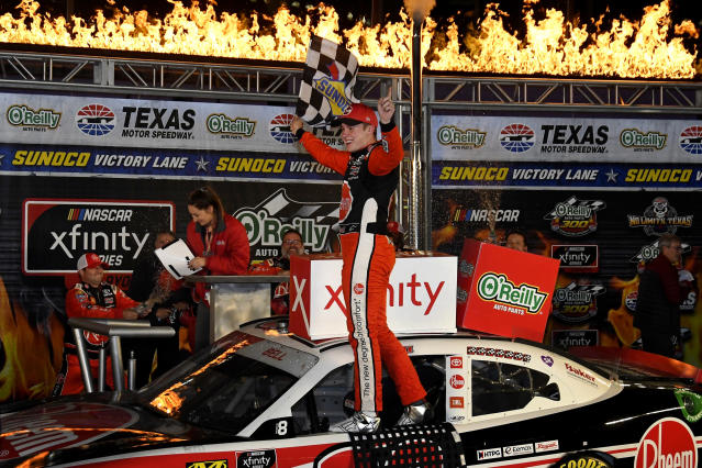 FILE - In this Nov. 2, 2019, file photo, Christopher Bell celebrates in Victory Lane after winning the NASCAR Xfinity Series auto race at Texas Motor Speedway in Fort Worth, Texas. NASCAR's season officially opens Sunday, Feb. 16, 2020, with the Daytona 500 at Daytona International Speedway. (AP Photo/Randy Holt, File)