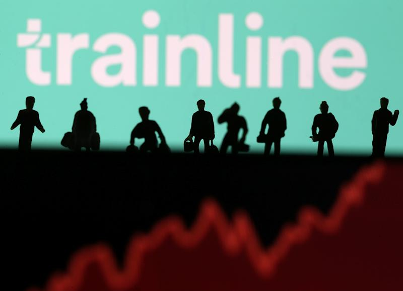 Trainline logo is displayed behind small toy figures and a stock graph in this illustration picture, June 20, 2019. REUTERS/Dado Ruvic