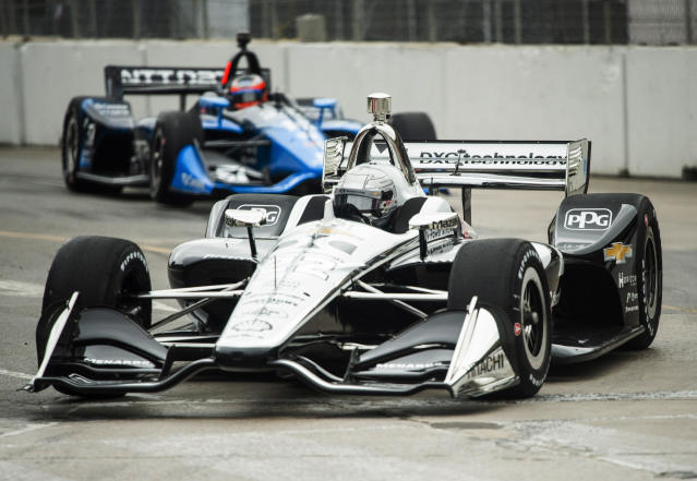 French racing driver Simon Pagenaud takes part in the first round of practice at the Honda Indy in Toronto, on Friday, July 12, 2019. (Andrew Lahodynskyj/The Canadian Press via AP)