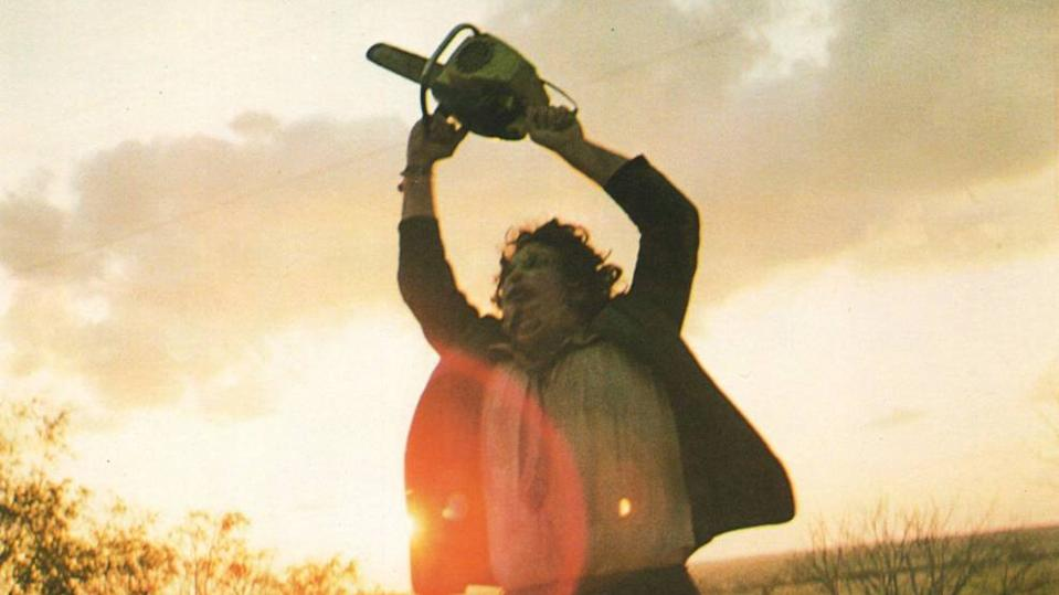 Gunnar Hansen raises his weapon in frustration in the final scene of 'The Texas Chainsaw Massacre'.
