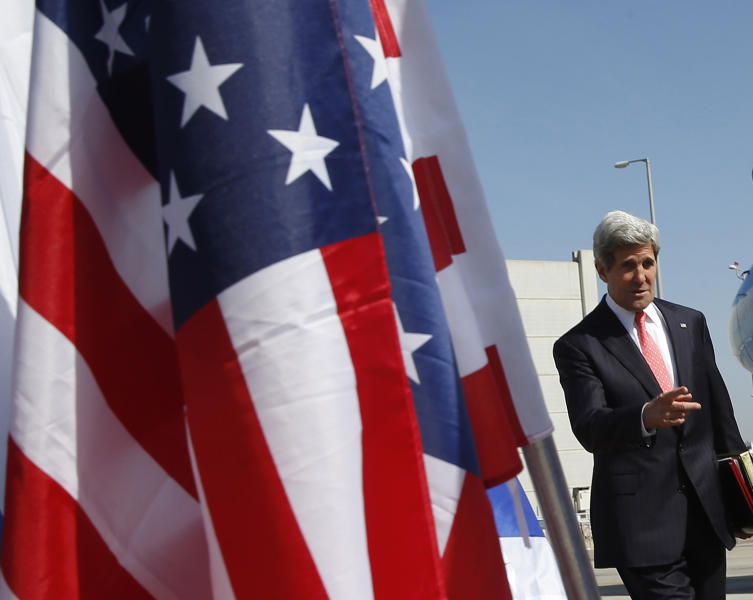 U.S. Secretary of State John Kerry arrives in Tel Aviv, Israel, Thursday, May 23, 2013. (AP Photo/Jim Young, Pool)